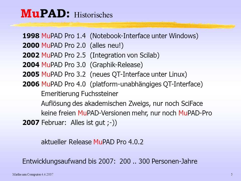 Mathe am Computer 4.4.20075 MuPAD: Historisches 1998 MuPAD Pro 1.4 (Notebook-Interface unter Windows) 2000 MuPAD Pro 2.0 (alles neu!) 2002 MuPAD Pro 2