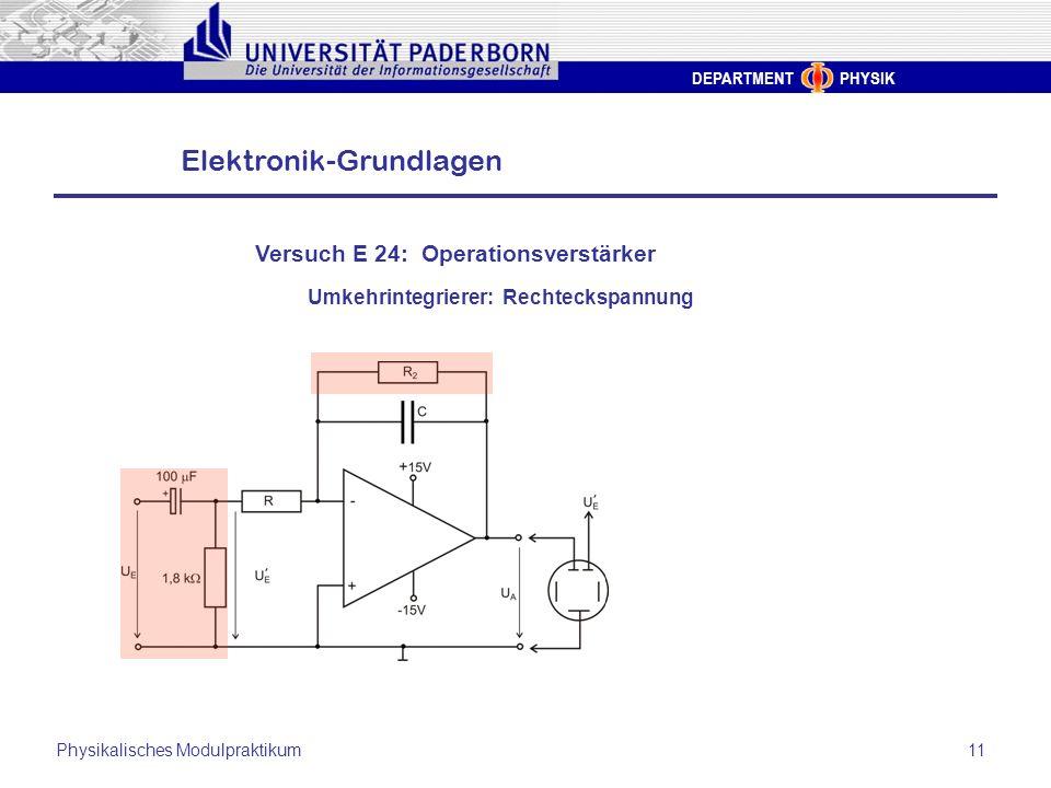 DEPARTMENT PHYSIK Elektronik-Grundlagen Physikalisches Modulpraktikum11 Versuch E 24: Operationsverstärker Umkehrintegrierer: Rechteckspannung