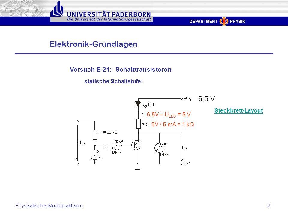 DEPARTMENT PHYSIK Elektronik-Grundlagen Physikalisches Modulpraktikum2 Versuch E 21: Schalttransistoren statische Schaltstufe: Steckbrett-Layout 6,5 V