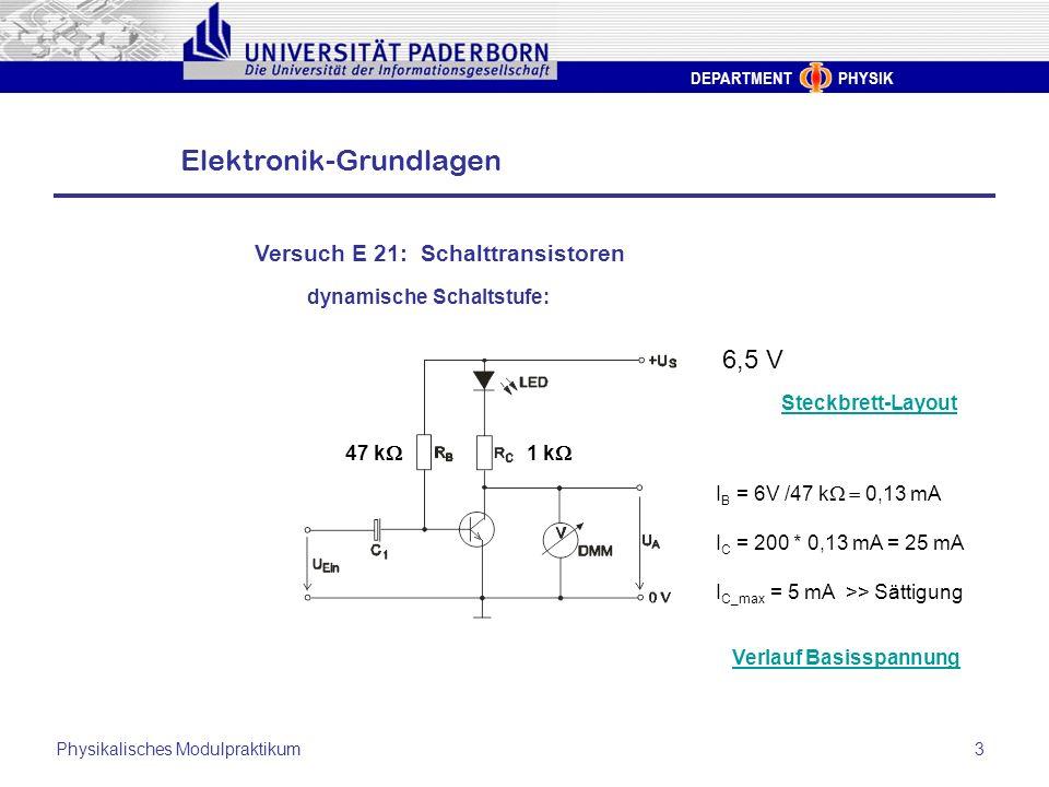 DEPARTMENT PHYSIK Elektronik-Grundlagen Physikalisches Modulpraktikum3 Versuch E 21: Schalttransistoren dynamische Schaltstufe: Steckbrett-Layout 6,5
