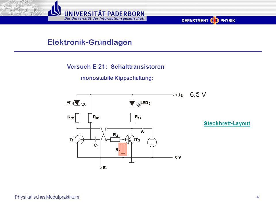 DEPARTMENT PHYSIK Elektronik-Grundlagen Physikalisches Modulpraktikum4 Versuch E 21: Schalttransistoren monostabile Kippschaltung: Steckbrett-Layout 6