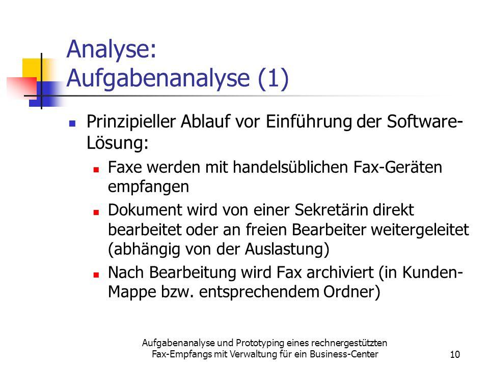 Aufgabenanalyse und Prototyping eines rechnergestützten Fax-Empfangs mit Verwaltung für ein Business-Center10 Analyse: Aufgabenanalyse (1) Prinzipiell