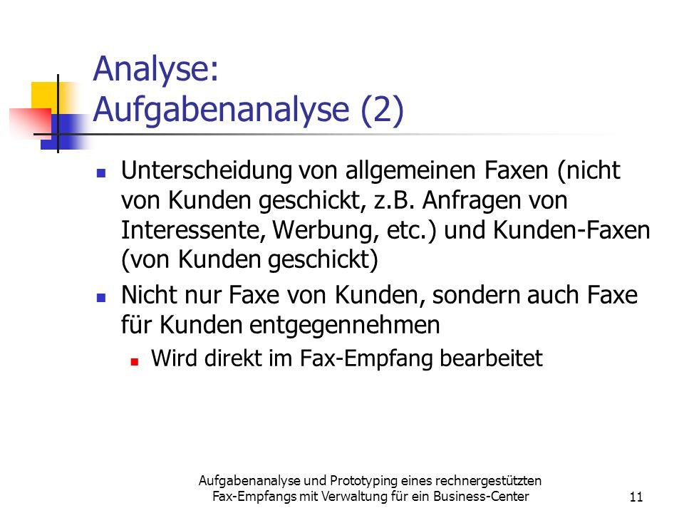 Aufgabenanalyse und Prototyping eines rechnergestützten Fax-Empfangs mit Verwaltung für ein Business-Center11 Analyse: Aufgabenanalyse (2) Unterscheid