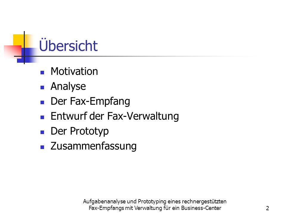 Aufgabenanalyse und Prototyping eines rechnergestützten Fax-Empfangs mit Verwaltung für ein Business-Center2 Übersicht Motivation Analyse Der Fax-Empf