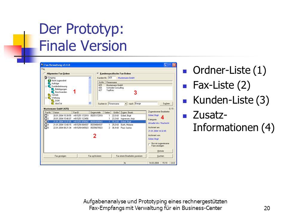 Aufgabenanalyse und Prototyping eines rechnergestützten Fax-Empfangs mit Verwaltung für ein Business-Center20 Der Prototyp: Finale Version Ordner-List