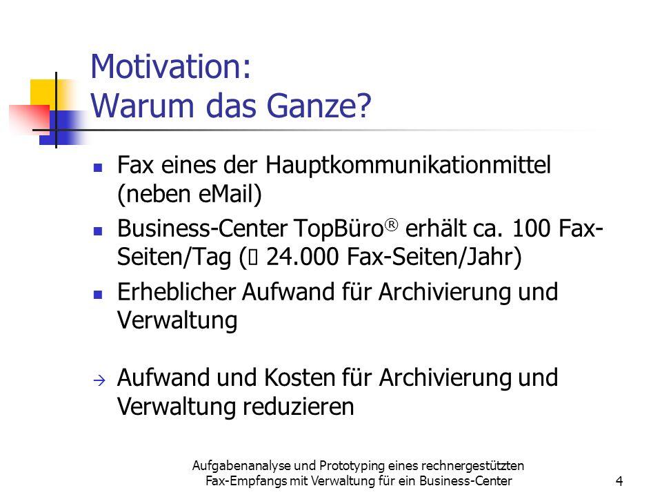 Aufgabenanalyse und Prototyping eines rechnergestützten Fax-Empfangs mit Verwaltung für ein Business-Center4 Motivation: Warum das Ganze? Fax eines de