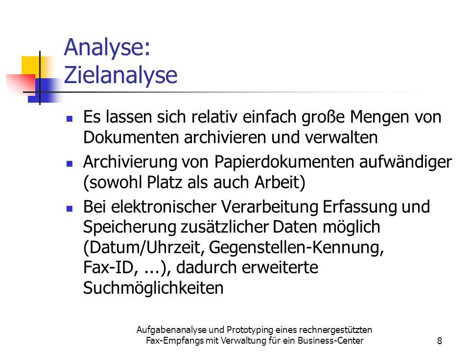 Aufgabenanalyse und Prototyping eines rechnergestützten Fax-Empfangs mit Verwaltung für ein Business-Center8 Analyse: Zielanalyse Es lassen sich relat