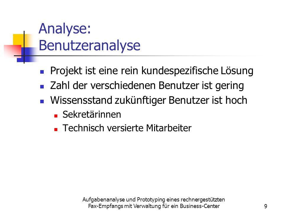 Aufgabenanalyse und Prototyping eines rechnergestützten Fax-Empfangs mit Verwaltung für ein Business-Center9 Analyse: Benutzeranalyse Projekt ist eine