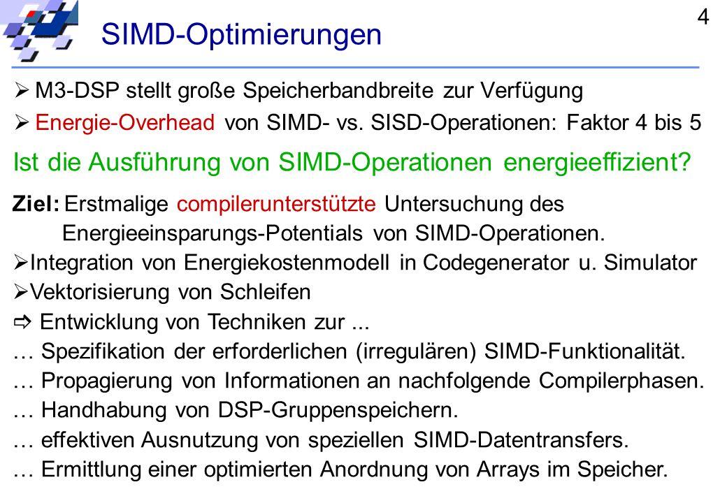 3 Compilierungsablauf C-SrcAsm Lance2 Frontend IR to GeLIR to Asm IR Standard- Optimierungen prozessorunabhängigprozessorabhängig GeLIR to Sim Sim GeL