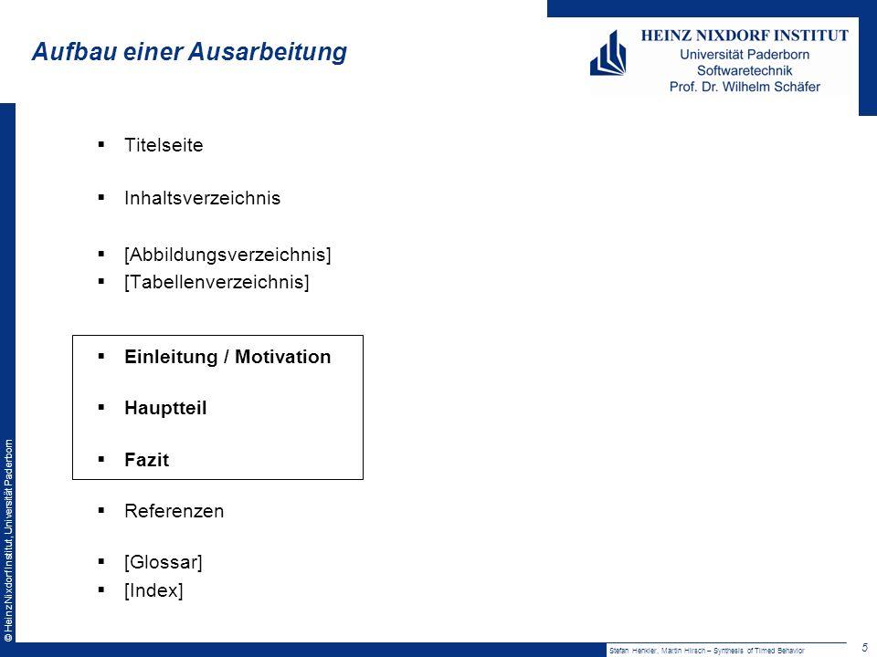 © Heinz Nixdorf Institut, Universität Paderborn Foliengestaltung Farben Nicht zu viele: max.