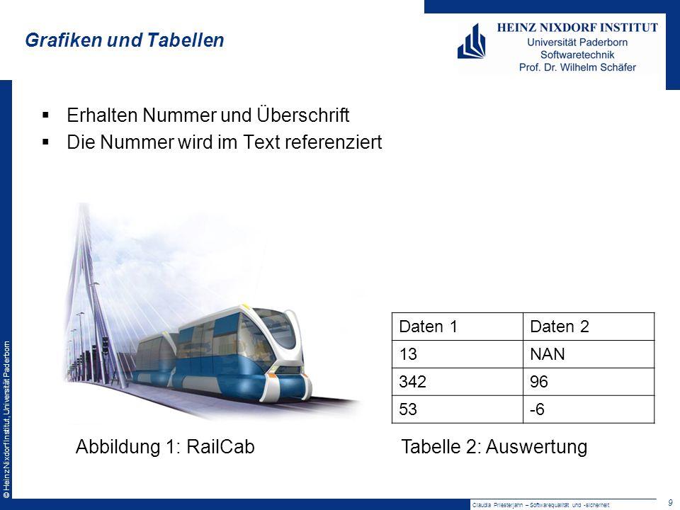 © Heinz Nixdorf Institut, Universität Paderborn Vortragsstil Zuhörer ansprechen Folien einbeziehen Auf Punkte hindeuten Grafiken erklären Evtl.