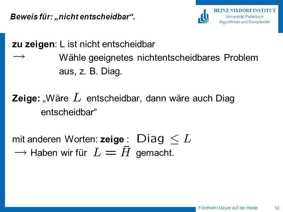 Friedhelm Meyer auf der Heide 10 HEINZ NIXDORF INSTITUT Universität Paderborn Algorithmen und Komplexität Beweis für: nicht entscheidbar. zu zeigen: L