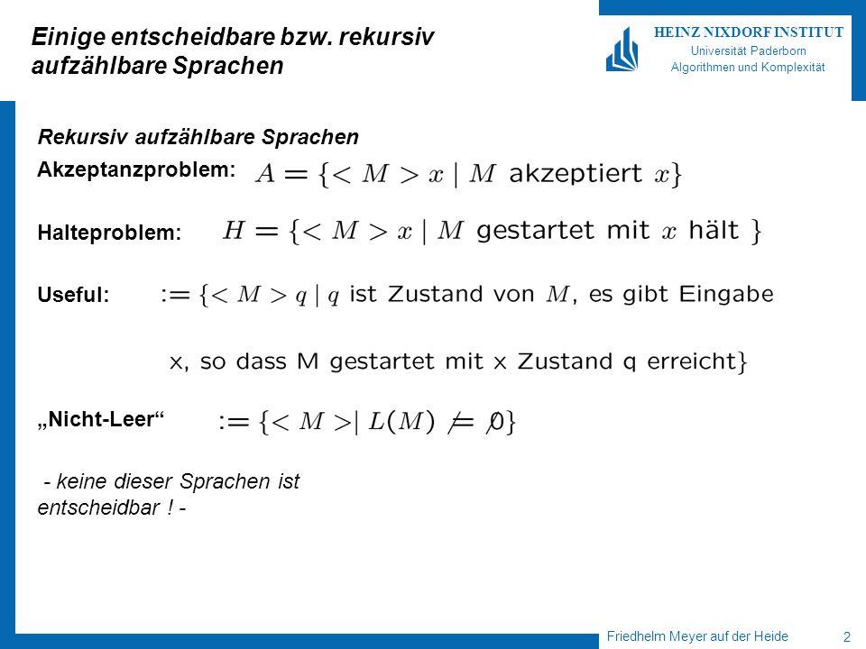 Friedhelm Meyer auf der Heide 2 HEINZ NIXDORF INSTITUT Universität Paderborn Algorithmen und Komplexität Einige entscheidbare bzw. rekursiv aufzählbar