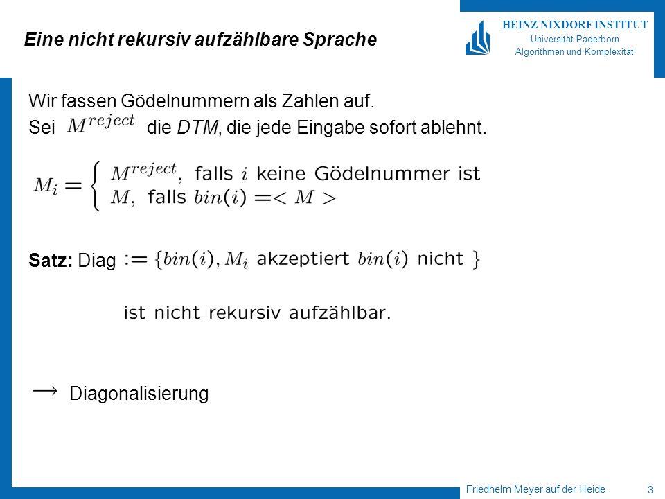 Friedhelm Meyer auf der Heide 3 HEINZ NIXDORF INSTITUT Universität Paderborn Algorithmen und Komplexität Eine nicht rekursiv aufzählbare Sprache Wir f