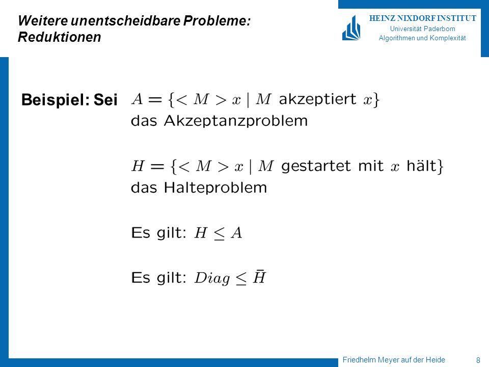 Friedhelm Meyer auf der Heide 9 HEINZ NIXDORF INSTITUT Universität Paderborn Algorithmen und Komplexität Weitere unentscheidbare Probleme: Reduktion Es gilt: Was folgt daraus.