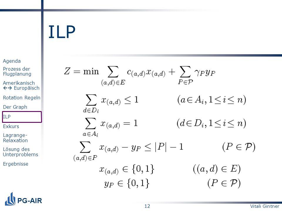 Vitali Gintner 12 PG-AIR Agenda Prozess der Flugplanung Amerikanisch Europäisch Rotation Regeln Der Graph ILP Exkurs Lagrange- Relaxation Lösung des U
