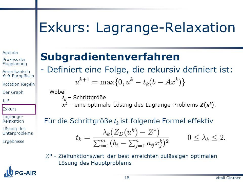 Vitali Gintner 18 PG-AIR Agenda Prozess der Flugplanung Amerikanisch Europäisch Rotation Regeln Der Graph ILP Exkurs Lagrange- Relaxation Lösung des U