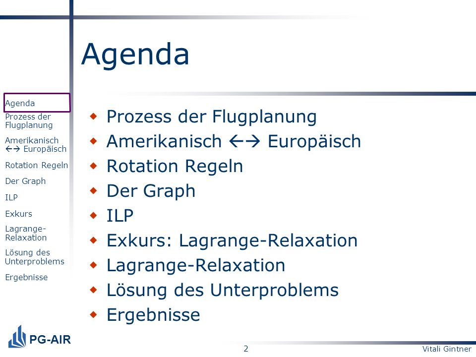 2 PG-AIR Agenda Prozess der Flugplanung Amerikanisch Europäisch Rotation Regeln Der Graph ILP Exkurs Lagrange- Relaxation Lösung des Unterproblems Erg