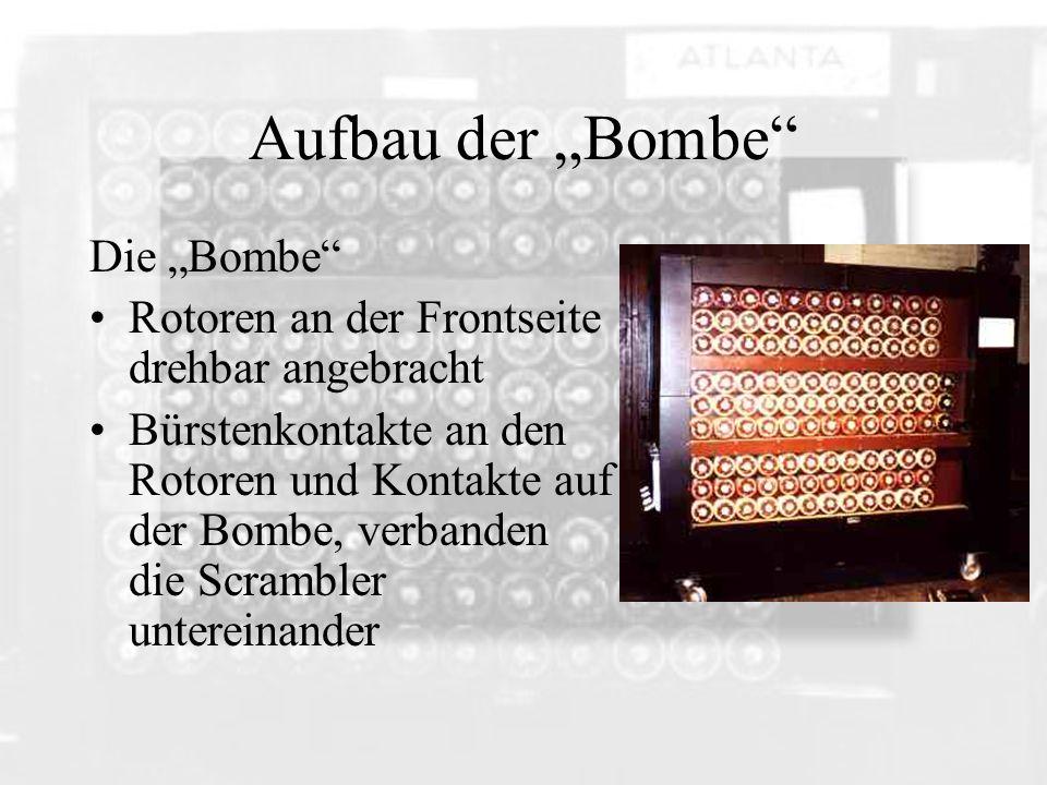 Aufbau der Bombe Die Bombe Rotoren an der Frontseite drehbar angebracht Bürstenkontakte an den Rotoren und Kontakte auf der Bombe, verbanden die Scram