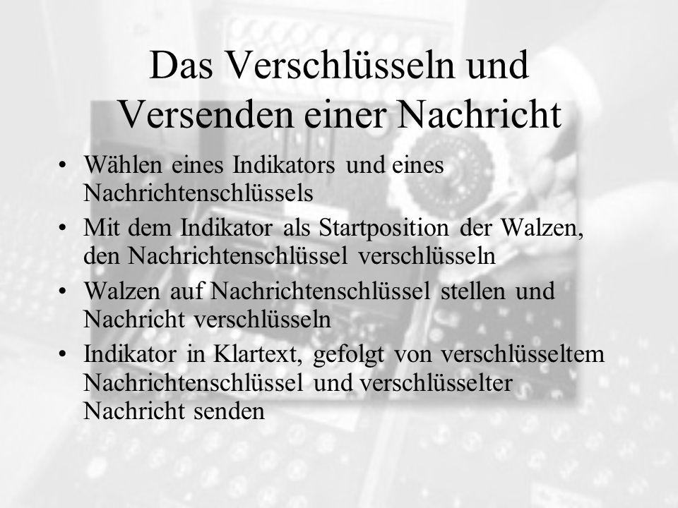 Das Verschlüsseln und Versenden einer Nachricht Wählen eines Indikators und eines Nachrichtenschlüssels Mit dem Indikator als Startposition der Walzen
