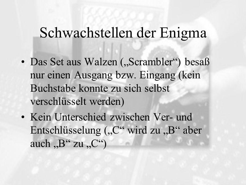 Schwachstellen der Enigma Das Set aus Walzen (Scrambler) besaß nur einen Ausgang bzw. Eingang (kein Buchstabe konnte zu sich selbst verschlüsselt werd