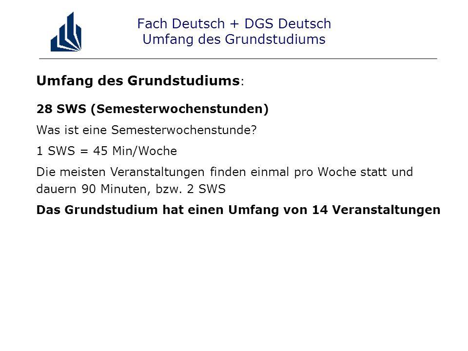 Aufbau des Grundstudiums : Fach Deutsch + DGS Deutsch Struktur des Grundstudiums Einführungsmodul6 SWS Sprachwissenschaft6 SWS Literaturwissenschaft6 SWS 28 SWS Fachdidaktik10 SWS