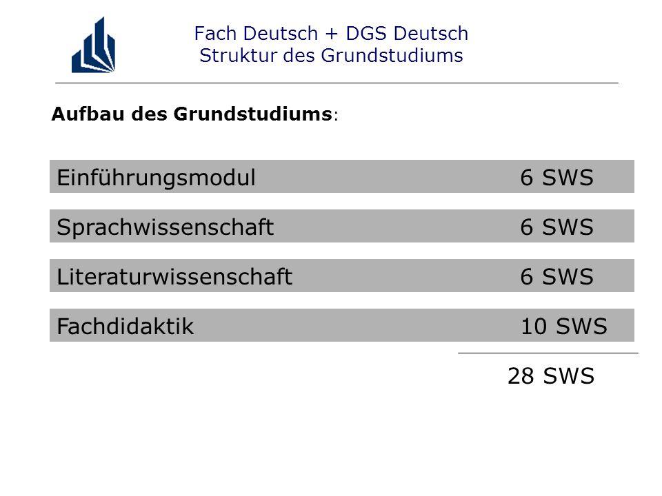 Aufbau des Grundstudiums : Fach Deutsch + DGS Deutsch Struktur des Grundstudiums Einführungsmodul6 SWS Sprachwissenschaft6 SWS Literaturwissenschaft6