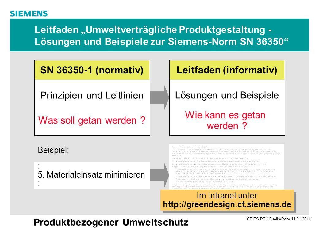 CT ES PE / Quella/Pdb/ 11.01.2014 Produktbezogener Umweltschutz Leitfaden Umweltverträgliche Produktgestaltung - Lösungen und Beispiele zur Siemens-No