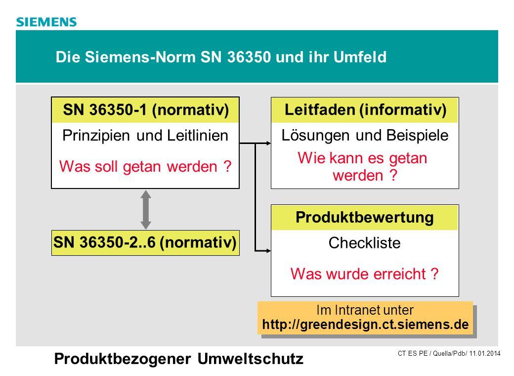 CT ES PE / Quella/Pdb/ 11.01.2014 Produktbezogener Umweltschutz Die Siemens-Norm SN 36350 und ihr Umfeld SN 36350-1 (normativ) Prinzipien und Leitlini