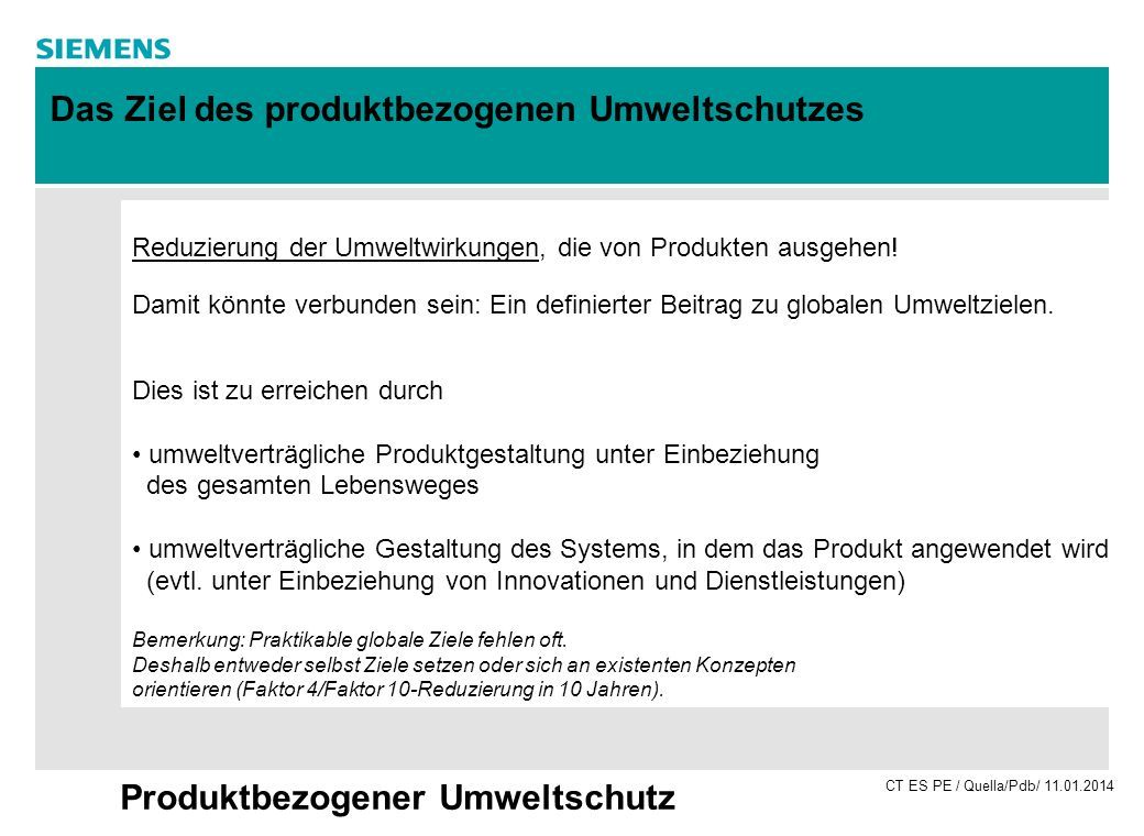 CT ES PE / Quella/Pdb/ 11.01.2014 Produktbezogener Umweltschutz Reduzierung der Umweltwirkungen, die von Produkten ausgehen! Damit könnte verbunden se