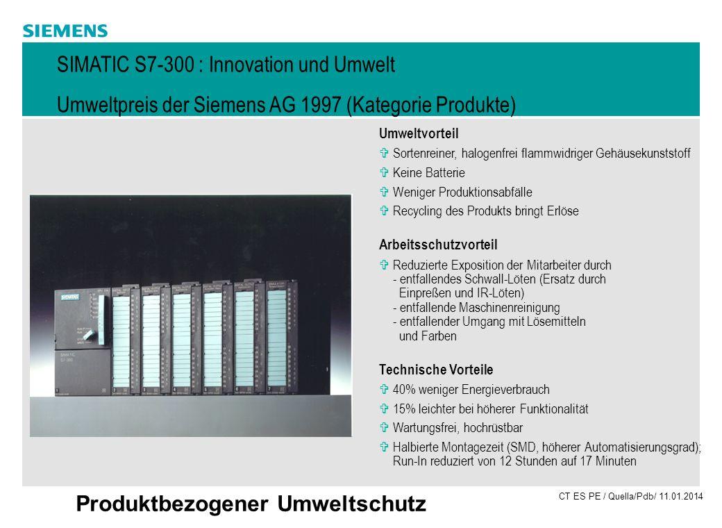 CT ES PE / Quella/Pdb/ 11.01.2014 Produktbezogener Umweltschutz Umweltvorteil VSortenreiner, halogenfrei flammwidriger Gehäusekunststoff VKeine Batter