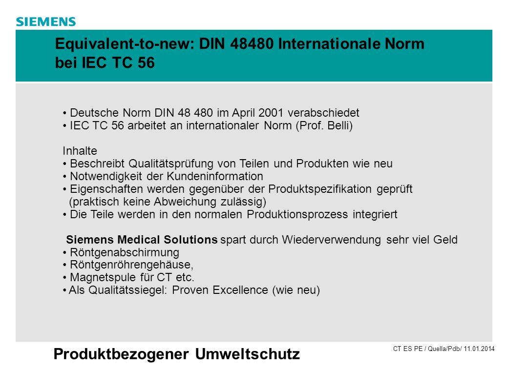 CT ES PE / Quella/Pdb/ 11.01.2014 Produktbezogener Umweltschutz Equivalent-to-new: DIN 48480 Internationale Norm bei IEC TC 56 Deutsche Norm DIN 48 48