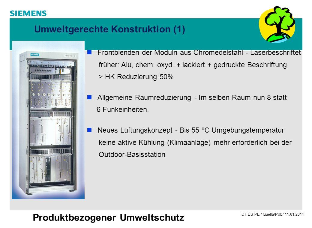 CT ES PE / Quella/Pdb/ 11.01.2014 Produktbezogener Umweltschutz Umweltgerechte Konstruktion (1) Frontblenden der Moduln aus Chromedelstahl - Laserbesc