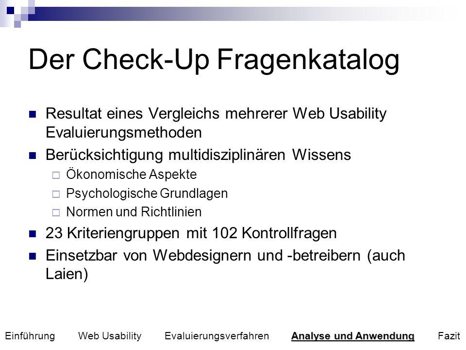 Der Check-Up Fragenkatalog Resultat eines Vergleichs mehrerer Web Usability Evaluierungsmethoden Berücksichtigung multidisziplinären Wissens Ökonomisc