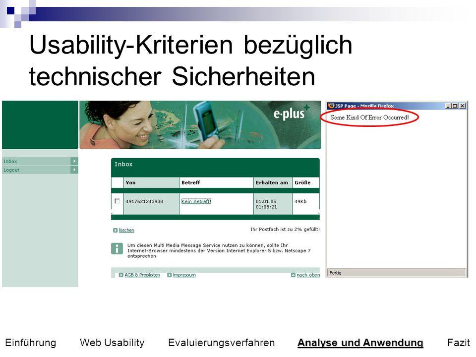 Unterstützung verschiedener Browserkonfigurationen Fehlermeldungen in Sprache des Benutzers anzeigen Fehleingaben von URLs können innerhalb einer Site