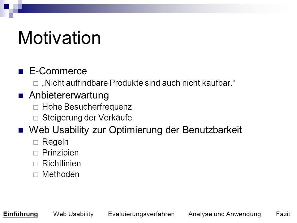 Motivation E-Commerce Nicht auffindbare Produkte sind auch nicht kaufbar. Anbietererwartung Hohe Besucherfrequenz Steigerung der Verkäufe Web Usabilit