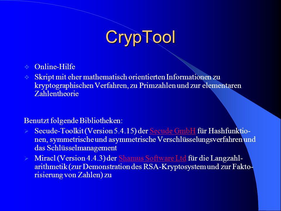 CrypTool Online-Hilfe Skript mit eher mathematisch orientierten Informationen zu kryptographischen Verfahren, zu Primzahlen und zur elementaren Zahlen