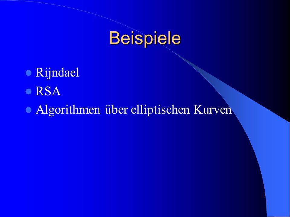 Beispiele Rijndael RSA Algorithmen über elliptischen Kurven