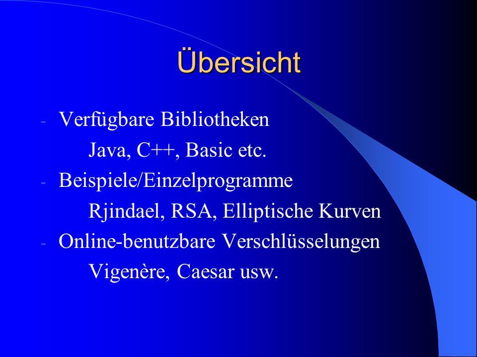 Übersicht - Verfügbare Bibliotheken Java, C++, Basic etc. - Beispiele/Einzelprogramme Rjindael, RSA, Elliptische Kurven - Online-benutzbare Verschlüss