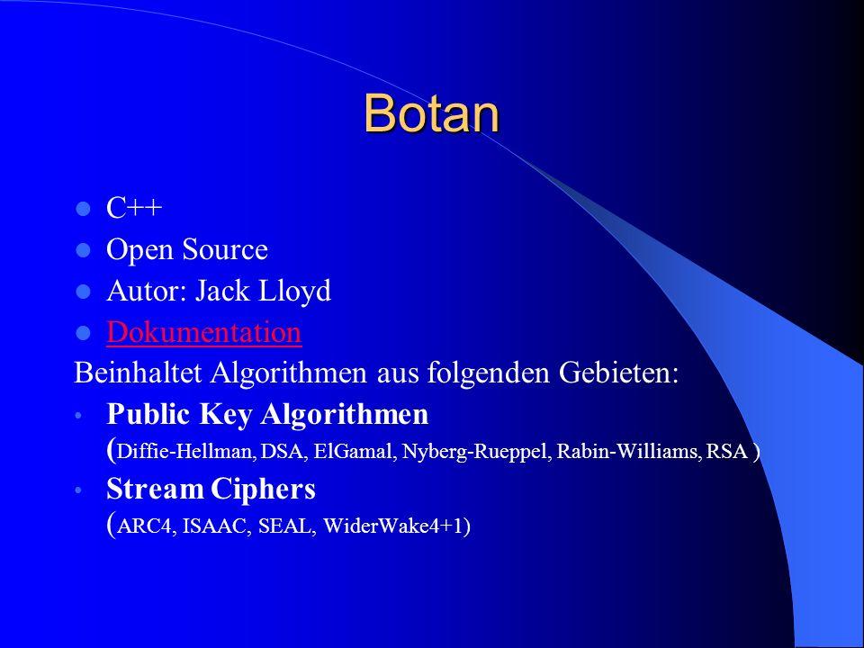 Botan C++ Open Source Autor: Jack Lloyd Dokumentation Beinhaltet Algorithmen aus folgenden Gebieten: Public Key Algorithmen ( Diffie-Hellman, DSA, ElG