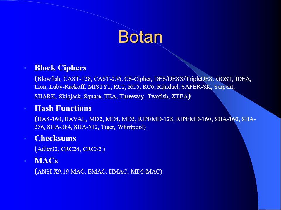 Botan Block Ciphers ( Blowfish, CAST-128, CAST-256, CS-Cipher, DES/DESX/TripleDES, GOST, IDEA, Lion, Luby-Rackoff, MISTY1, RC2, RC5, RC6, Rijndael, SA