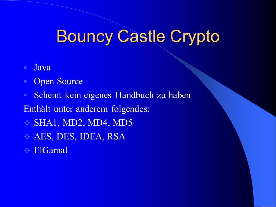 Bouncy Castle Crypto Java Open Source Scheint kein eigenes Handbuch zu haben Enthält unter anderem folgendes: SHA1, MD2, MD4, MD5 AES, DES, IDEA, RSA