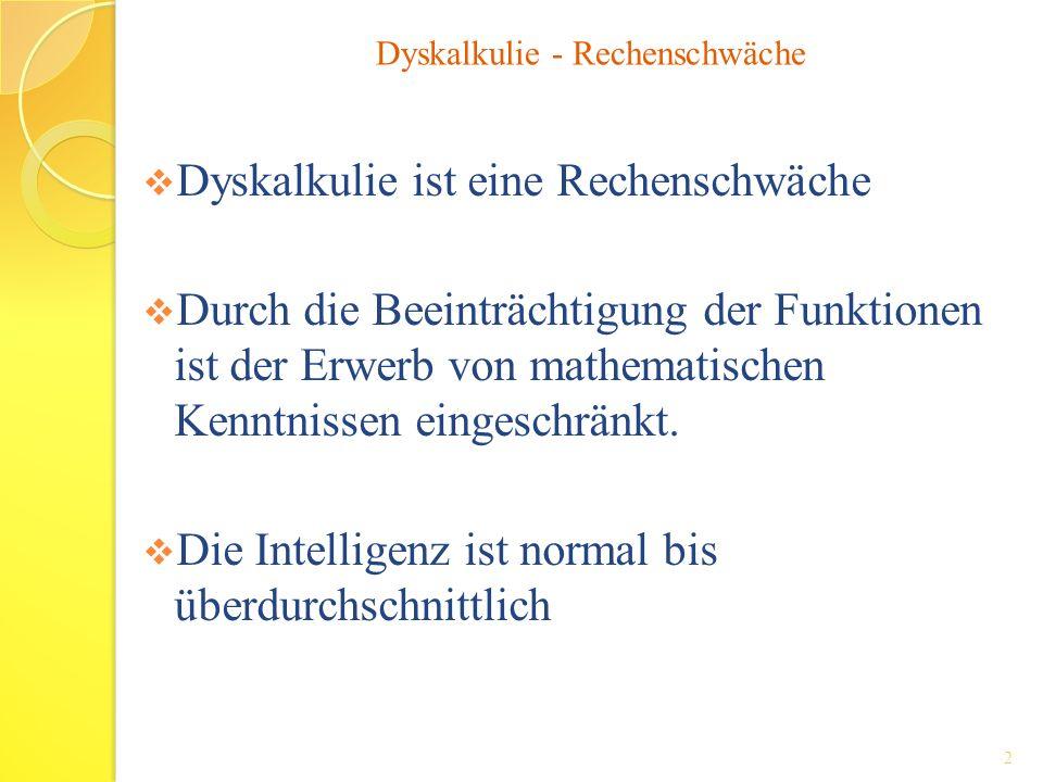 Dyskalkulie ist eine Rechenschwäche Durch die Beeinträchtigung der Funktionen ist der Erwerb von mathematischen Kenntnissen eingeschränkt. Die Intelli