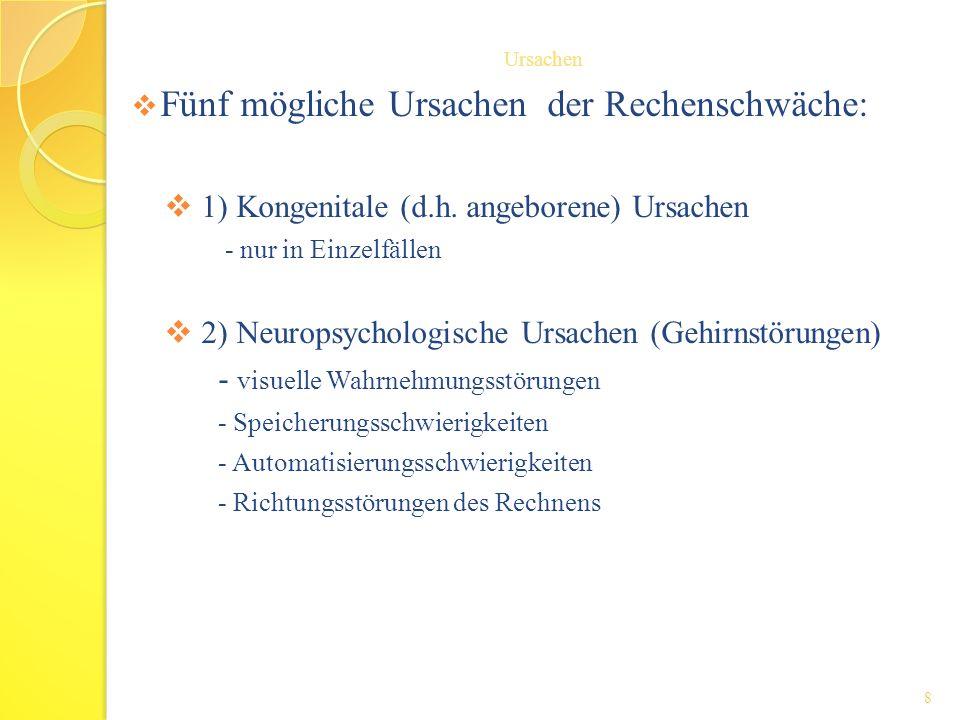 Fünf mögliche Ursachen der Rechenschwäche: 1) Kongenitale (d.h. angeborene) Ursachen - nur in Einzelfällen 2) Neuropsychologische Ursachen (Gehirnstör