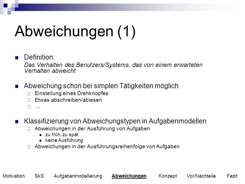 Abweichungen (2) Ansätze zur Abweichungsanalyse Szenarienbasierte Verfahren wie THEA, Crews-Savre HAZOP-Verfahren (Hazard and Operability Studies) PAAG-Verfahren (deutsche Umsetzung des HAZOP-Verfahrens) Nachteil der Verfahren Szenarienbasierte Verfahren betrachten nur einen kleinen Teil möglicher Abweichungen HAZOP betrachtet nur lokale Konsequenzen einer Abweichung Abweichungsanalyse in Aufgabenmodellen HAZOP-basiertes Verfahren von C.Santoro und F.Paternó Abweichungen Motivation SkS Aufgabenmodellierung Abweichungen Konzept Vor/Nachteile Fazit