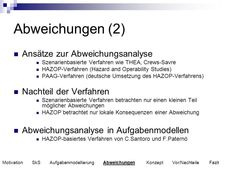 Abweichungen (2) Ansätze zur Abweichungsanalyse Szenarienbasierte Verfahren wie THEA, Crews-Savre HAZOP-Verfahren (Hazard and Operability Studies) PAA