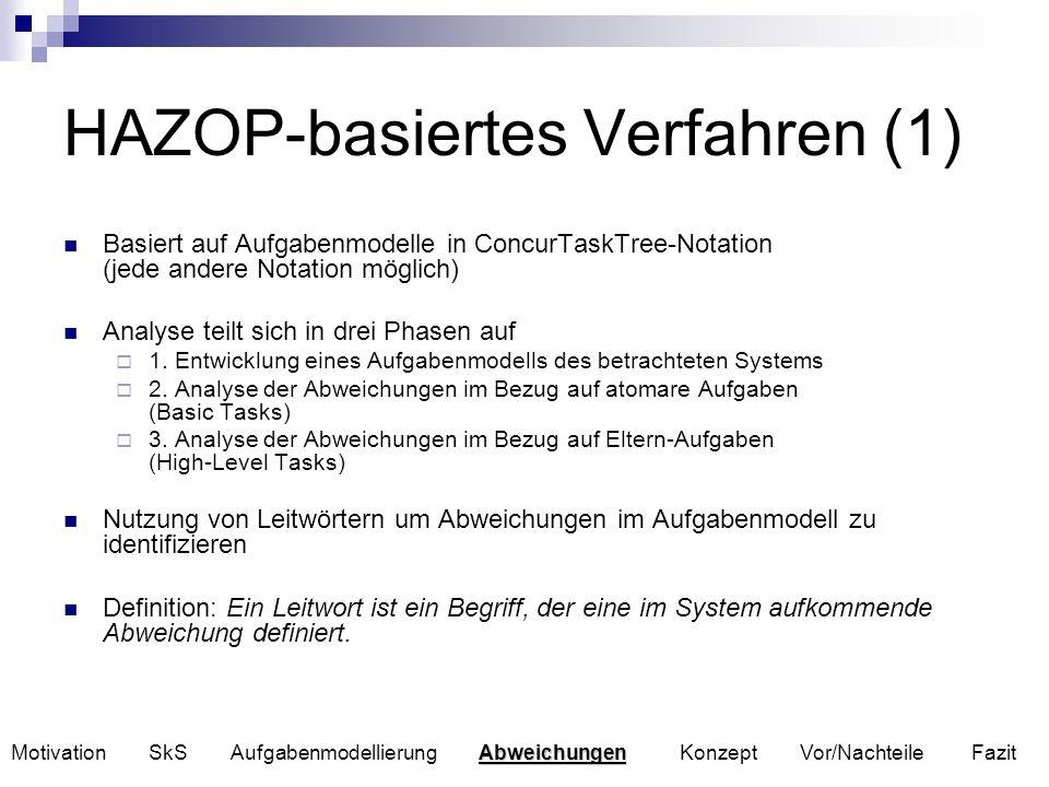 HAZOP-basiertes Verfahren (2) Analyseergebnisse werden in tabellarischer Form dargestellt Nachteil des Verfahrens Verfahren von C.Santoro und F.Paternó betrachtet nur lokale Konsequenzen einer Abweichung im Aufgabenmodell Ziel: Entwicklung eines Verfahrens, das Abweichungen im Aufgabenmodell identifiziert und lokale, als auch globale Auswirkungen analysiert.