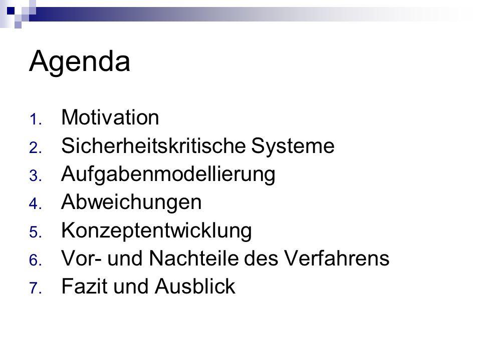 Agenda 1. Motivation 2. Sicherheitskritische Systeme 3. Aufgabenmodellierung 4. Abweichungen 5. Konzeptentwicklung 6. Vor- und Nachteile des Verfahren