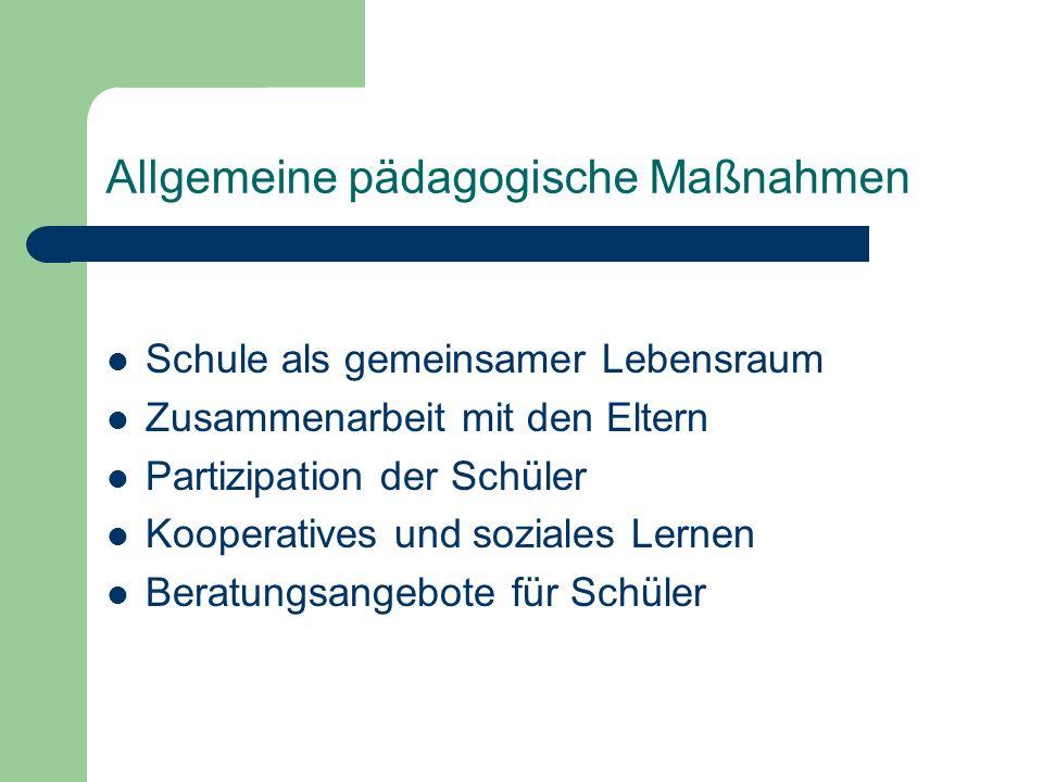 Allgemeine pädagogische Maßnahmen Schule als gemeinsamer Lebensraum Zusammenarbeit mit den Eltern Partizipation der Schüler Kooperatives und soziales Lernen Beratungsangebote für Schüler