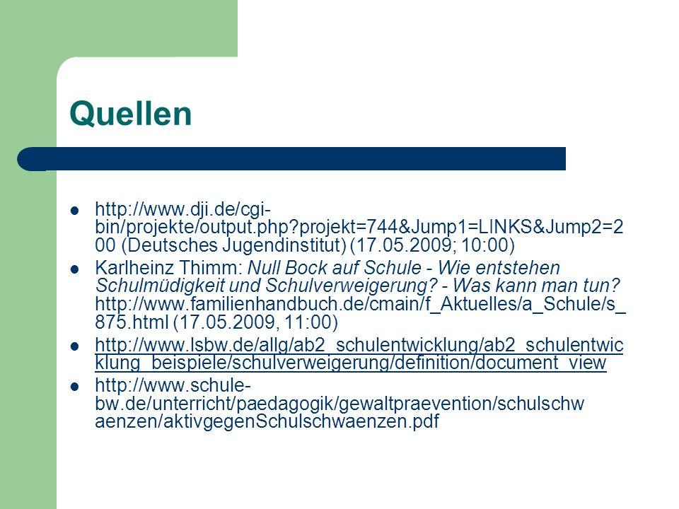 Quellen http://www.dji.de/cgi- bin/projekte/output.php?projekt=744&Jump1=LINKS&Jump2=2 00 (Deutsches Jugendinstitut) (17.05.2009; 10:00) Karlheinz Thimm: Null Bock auf Schule - Wie entstehen Schulmüdigkeit und Schulverweigerung.